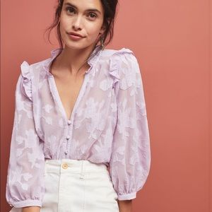 Anthropologie Maeve• Mallory Lavender Lace Blouse